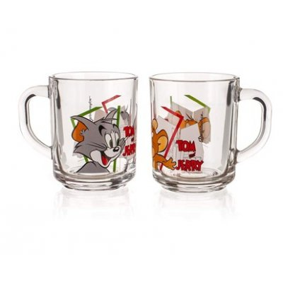 Glass mug Tom and Jerry
