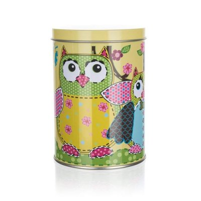 Tin owl moneybox without coin hole