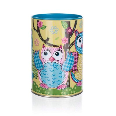 Tin owl moneybox with coin hole